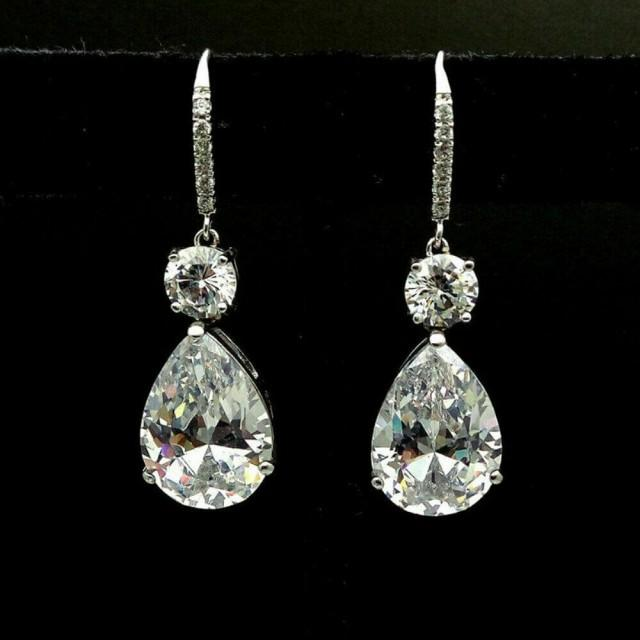 wedding photo - Affordable 3 Ct Pear Cut Moissanite Drop Earrings