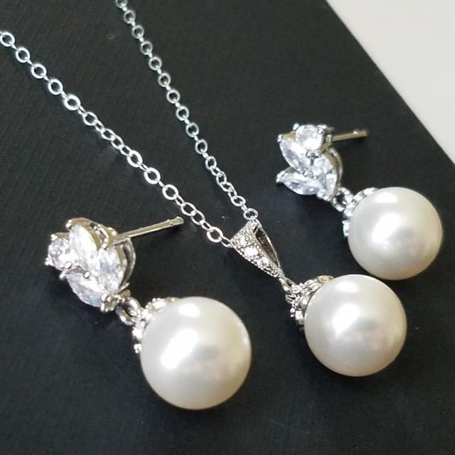 wedding photo - Pearl Bridal Jewelry Set, Swarovski White Pearl Silver Set, Wedding Earrings&Necklace Set, Bridal White Pearl Jewelry, Wedding Pearl Jewelry