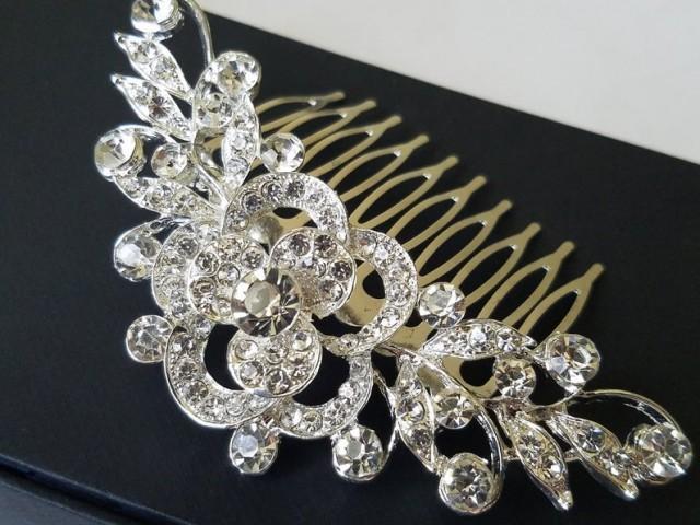 wedding photo - Bridal Crystal Hair Comb, Wedding Crystal Hair Piece, Bridal Rhinestone Headpiece, Bridal Hair Jewelry, Crystal Silver Floral Bridal Comb
