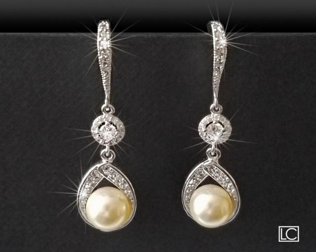 wedding photo - Pearl Bridal Earrings, Swarovski Ivory Pearl Silver Earrings, Pearl Chandelier Wedding Earrings, Bridesmaids Jewelry, Pearl Dangle Earrings