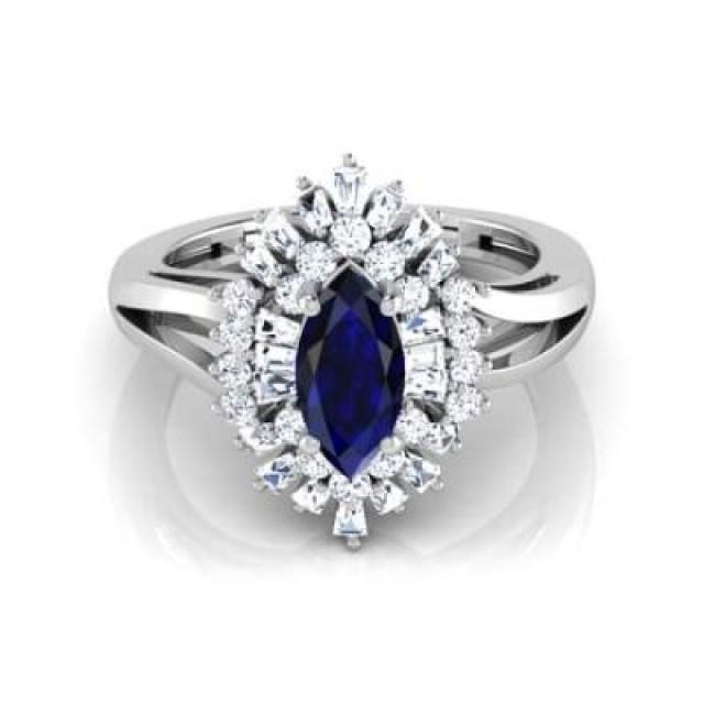 wedding photo - Marquise Cut Blue Sapphire Ring In 14k White Gold For Sale