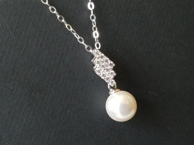 wedding photo - White Pearl Sterling Silver Necklace, Swarovski 8mm Pearl Pendant, Wedding Pearl Necklace, White Single Pearl Pendant, Pearl Bridal Jewelry,