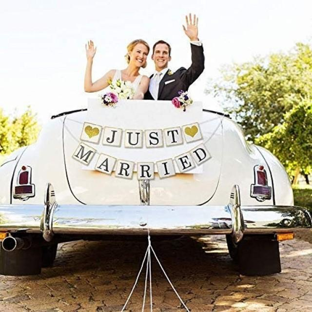 wedding photo - Gold JUST MARRIED Banner, Wedding Banner, Just Married Sign for a Getaway Car Banner, Wedding Backdrop, Sweetheart Table Decor, Fall Garland