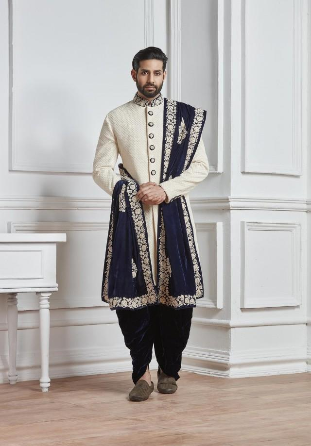 Indian Wedding Sherwani,mens wedding wear,wedding sherwani,groom sherwani for wedding,designer wedding sherwani,sherwani with dupatta