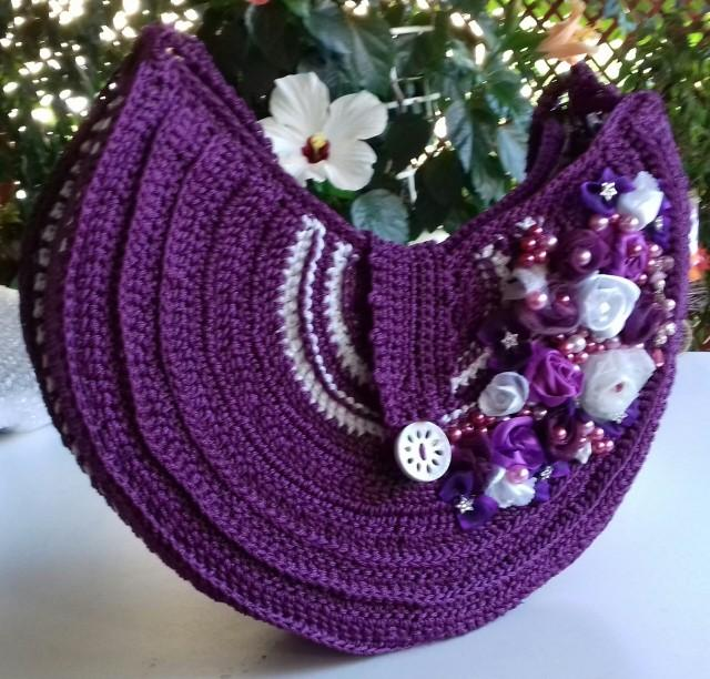 Purple Round Bag - Crochet Top Handles Women's Purse - Crochet Free-form Bag - Young Women's Unique Handmade Purse - Bag Gift For Her