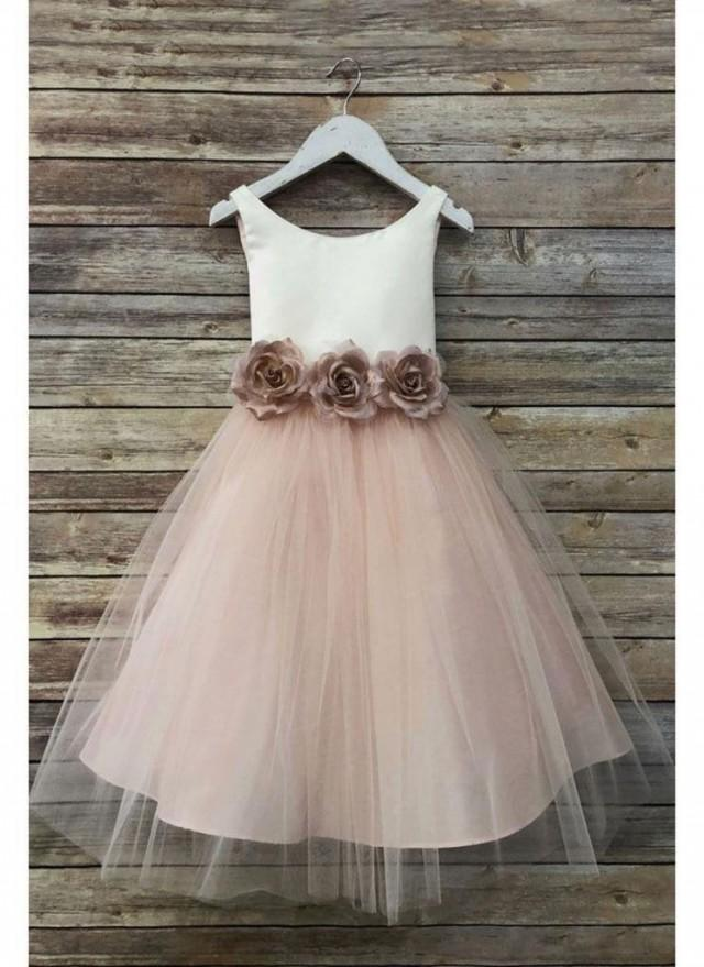 wedding photo - Sweet satin and tulle flower girl dress with pin on flowers