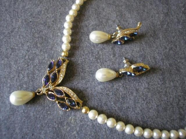 wedding photo - Vintage Rosita Pearl Jewellery Set, Pearl And Montana Sapphire Rhinestone, Necklace And Earrings Set, Sapphire Bridal Set, Pearl Choker