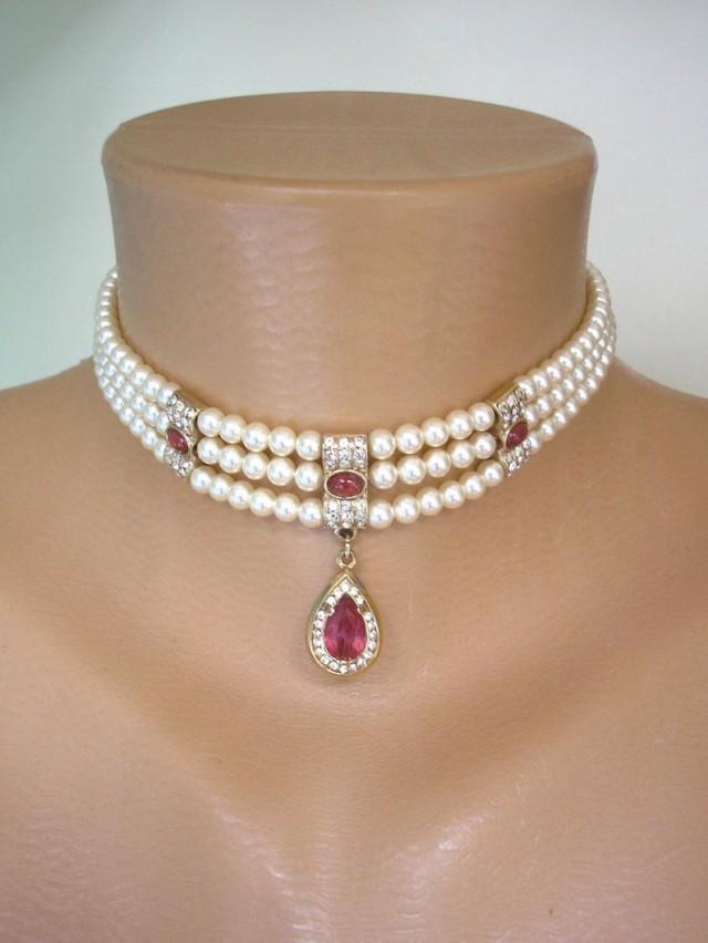 wedding photo - Vintage Rosita Pearl Choker, Signed Rosita Pearls, Pearl And Ruby Choker, Indian Bridal Choker, Downton Abbey Jewellery, Red Moonstone, Deco
