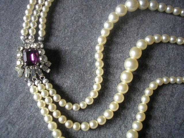 wedding photo - Amethyst and Pearl Necklace With Side Clasp, Vintage Bridal Pearls, Bridal Choker, Cream Pearls, Wedding Jewelry, Pearl Necklace, Art Deco