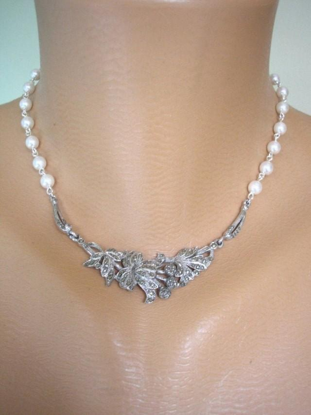 wedding photo - Upcycled Vintage Marcasite Necklace