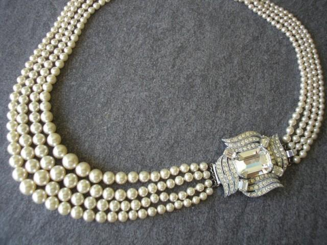 wedding photo - Vintage 4 Strand Pearl Necklace With Side Clasp, Ivory Pearl Necklace, Multistrand Pearls, Bridal Pearls, Great Gatsby Pearls, Deco