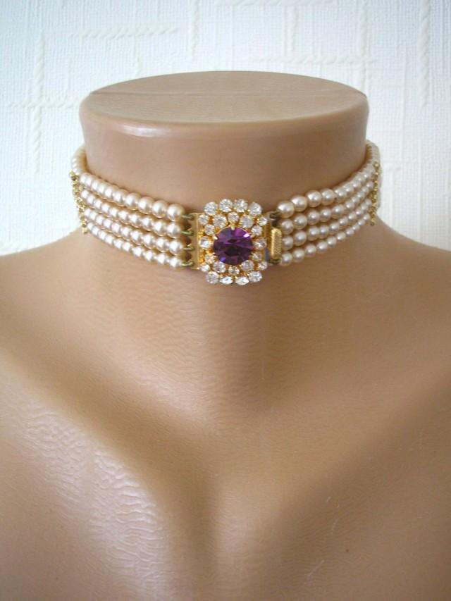 wedding photo - Vintage Pearl Choker, Amethyst Pearl Choker, Pearl Bridal Choker, Indian Bridal Choker, Bridal Jewelry, Gatsby Wedding, Art Deco Wedding
