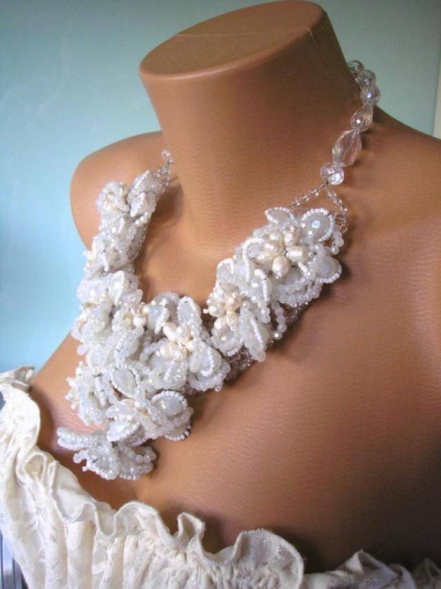 wedding photo - Bridal Statements Necklace, Pearl and Crystal, Wedding Collar, Vintage Bridal, Bridesmaid Gift, Bridal Bib, Pearl Choker, White