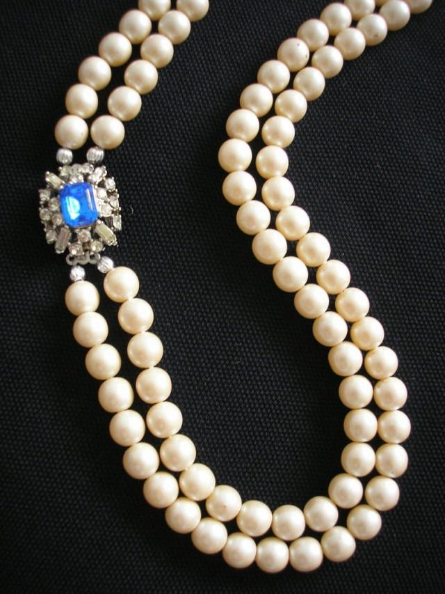 wedding photo - Vintage Pearl And Sapphire Necklace, 2 Strand Pearls, Pearls With Side Clasp, Long Pearl Necklace, Blue Bridal Jewelry, Cobalt Blue, Deco