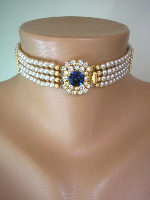 wedding photo - Vintage Pearl Choker, Sapphire Pearl Choker, Pearl Bridal Choker, Indian Bridal Choker, Bridal Jewelry, Gatsby Wedding, Art Deco Wedding