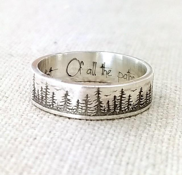 Personalized Silver Ring - Gifts - Wedding Band - Forest Jewelry - Engraved Ring - Pine Tree Ring - Stocking Stuffer - Nature Accessories
