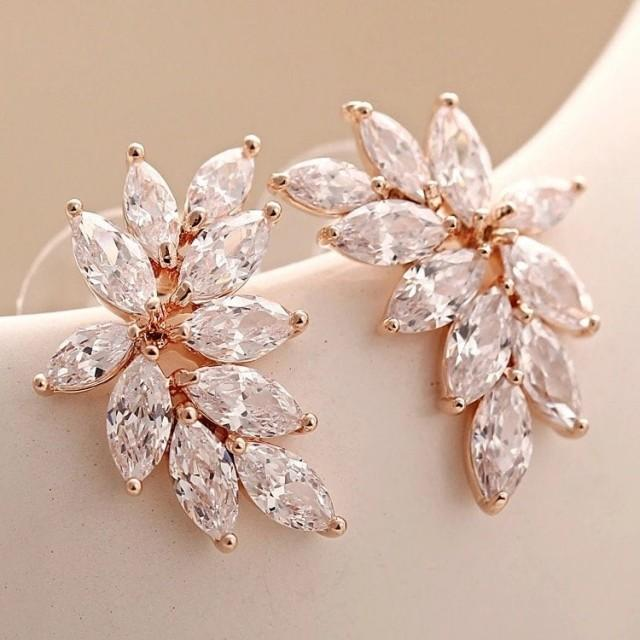 Bridesmaid jewelry, CZ marquise earrings in rose gold, or silver, wedding earrings, bridal earrings