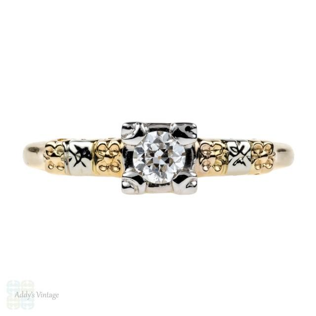 Engraved Floral Engagement Ring, Old European Cut Diamond in 14K Gold. Circa 1930s.