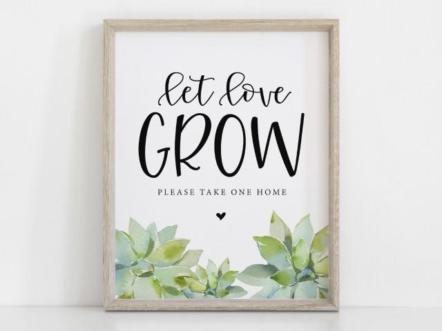 Succulent Favor Sign, Let Love Grow Sign, Wedding Succulent Favor Sign, Wedding Favor Sign, Baby Shower, Watercolor, Instant Download