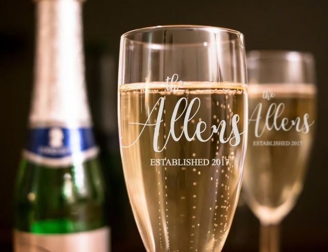 Set of 2 - Last Name & Date Wedding Toasting Flutes - Personalized Toasting Flutes - Personalized Wedding Glasses - Champagne Flutes - A