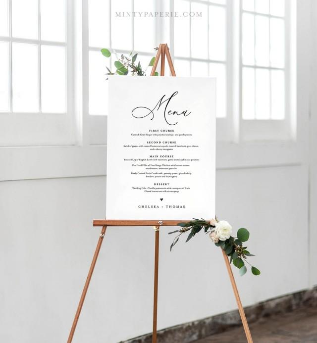 Wedding Menu Sign Template, INSTANT DOWNLOAD, 100% Editable, Printable Menu Card and Poster Board, 4 Sizes: 5x7, 16x20, 18x24, 24x36 #CHM-04