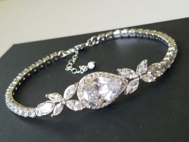 wedding photo - Bridal Crystal Bracelet, Wedding Cubic Zirconia Bracelet, Silver Cubic Zirconia Pear Bracelet, Bridal Jewelry, Wedding Sparkly Bracelet