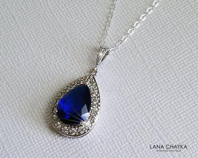 wedding photo - Sapphire Teardrop Bridal Necklace, Navy Blue Silver Wedding Pendant, Royal Blue Necklace, Sapphire Halo Necklace, Navy Blue Bridal Jewelry