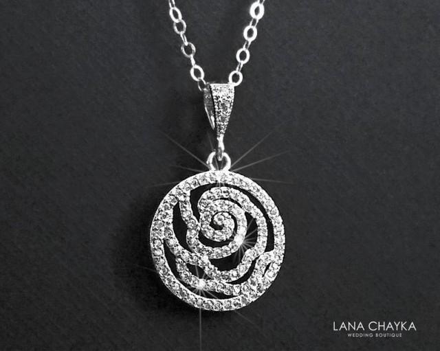 wedding photo - Camellia Cubic Zirconia Bridal Necklace, Floral Silver Necklace, Wedding Jewelry, Bridal Jewelry, Cubic Zirconia Pendant, Prom Necklace