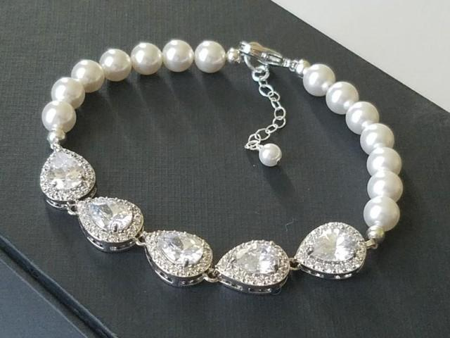 wedding photo - Pearl Bridal Bracelet, Wedding Pearl Cubic Zirconia Bracelet, Swarovski White Pearl Bracelet, Pearl Bridal Jewelry, Vintage Style Bracelet