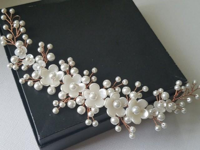 wedding photo - Rose Gold Bridal Hair Vine, White Pearl Floral Hair Piece, Wedding Pearl Hair Wreath, Rose Gold Hair Jewelry, Pink Gold Bridal Headpiece