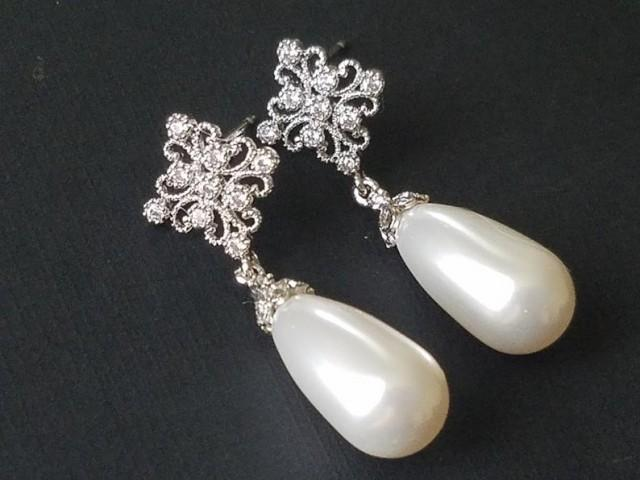wedding photo - Bridal Pearl Teardrop Earrings, Swarovski White Pearl Wedding Earrings, Pearl CZ Silver Earrings, Bridesmaids Jewelry, Pearl Dangle Earrings