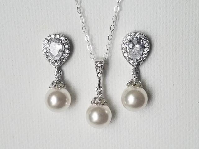 wedding photo - White Pearl Jewelry Set, Swarovski 8mm Pearl Earrings&Necklace Set, Wedding Pearl Dainty Jewelry Set, Bridal Jewelry Set, Wedding Pearl Set