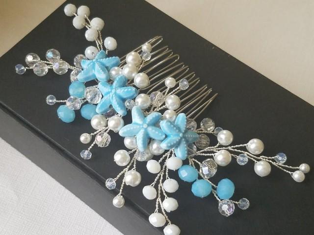 wedding photo - Blue Starfish Bridal Hair Comb, Wedding Sea Star Hair Piece, Bridal Mermaid Headpiece, Beach Wedding Pearl Crystal Hair Piece, Hair Jewelry