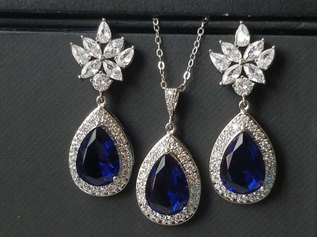 wedding photo - Blue Sapphire Halo Crystal Bridal Set, Navy Blue Earrings&Necklace Jewelry Set, Wedding Royal Blue Teardrop Set, Blue Crystal Bridal Jewelry
