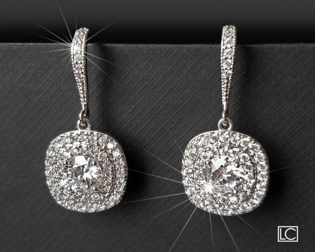 wedding photo - Crystal Bridal Earrings, Wedding Cubic Zirconia Halo Earrings, Square Crystal Earrings, Sparkly Earrings, Bridal Jewelry, Wedding Jewelry