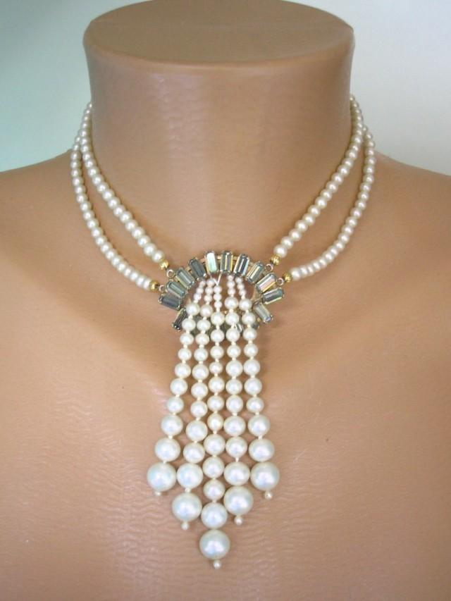 wedding photo - Vintage Art Deco Style Pearl Choker Necklace