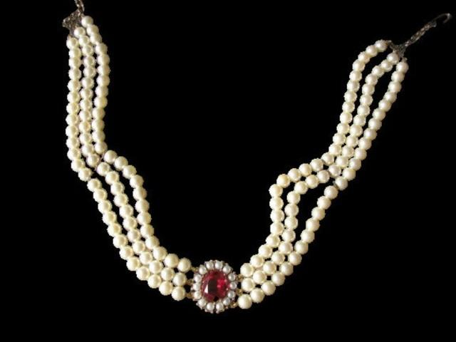 wedding photo - LOTUS Royale Pearls, Vintage Pearl Choker, Lotus Pearls, Ruby Bridal Choker, Wedding Necklace, Pearl Necklace, Indian Bridal Choker, Deco