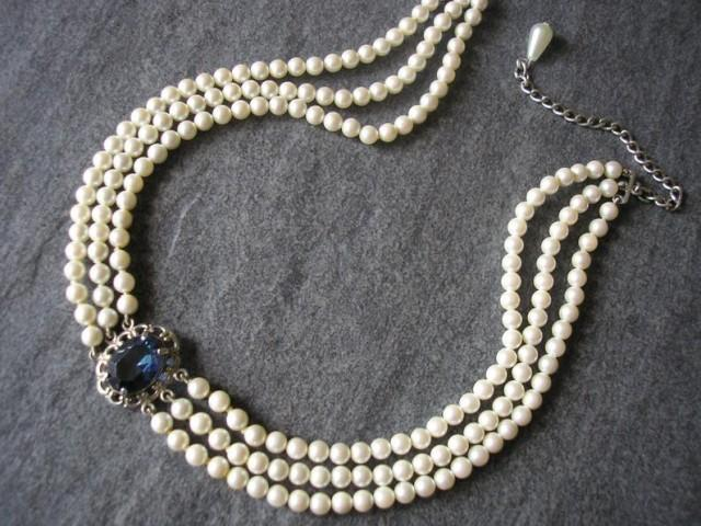 wedding photo - Vintage Pearl Choker, Osaki Pearls, Pearl Choker With Montana Sapphire Pendant, 3 Strand Pearls, Ivory Pearls, Sterling Silver, Bridal Pearl