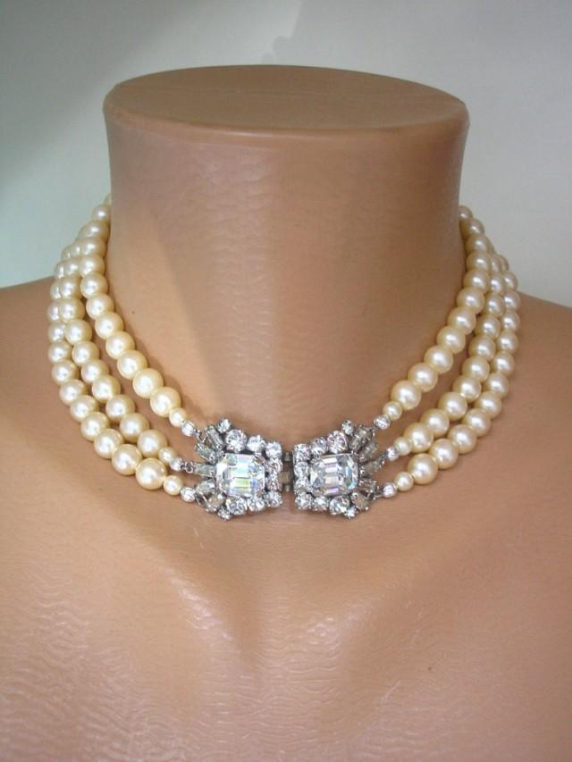 wedding photo - Art Deco Style Pearl Choker, Vintage Pearl Choker, 3 Strand Pearls, Cream Pearls, Pearl Bridal Choker, Wedding Pearls, Downton Abbey Jewelry