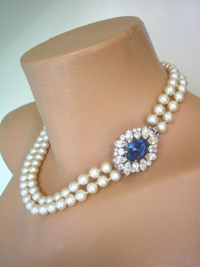 wedding photo - Vintage Pearl And Montana Sapphire Choker, Pearl And Sapphire Necklace, Bridal Pearls, Vintage Pearls, Pearls With Side Clasp, Ivory Pearls