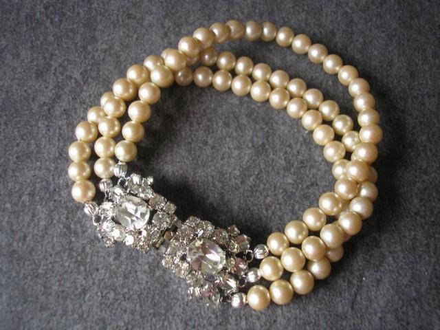 wedding photo - Art Deco Style Pearl Bracelet, Vintage Pearl Bracelet, Pearl Cuff, Gatsby Cuff, Pearl Wedding Bracelet, 3 Strand Pearl Bracelet, Downton