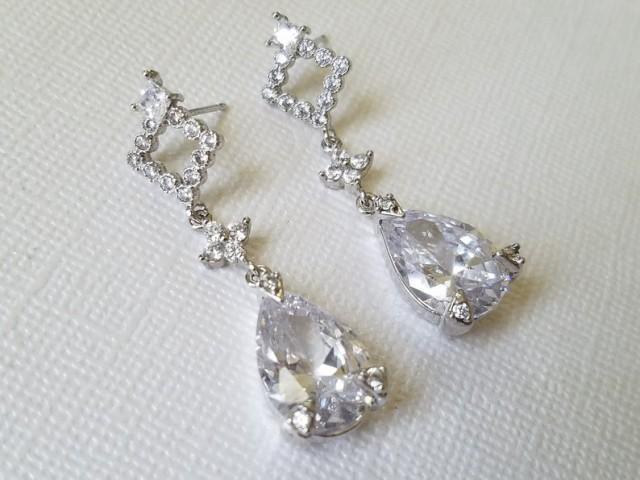 wedding photo - Crystal Bridal Earrings, Cubic Zirconia Teardrop Silver Earrings, Crystal Dangle Earrings, Wedding Jewelry, Statement Bridal CZ Earrings