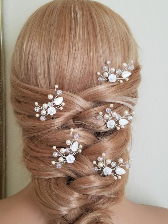 wedding photo - Pearl Crystal Bridal Hair Pins, Set of 5 Pearl Hair Pins, Swarovski Ivory Pearl Hair Pieces, Bridal Floral Hair Jewelry, Crystal Pearl Pins