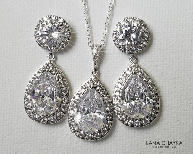 wedding photo - Bridal Crystal Jewelry Set, Wedding Cubic Zirconia Halo Set, Teardrop Earrings&Necklace Set, Bridal CZ Jewelry, Wedding Sparkly Crystal Set
