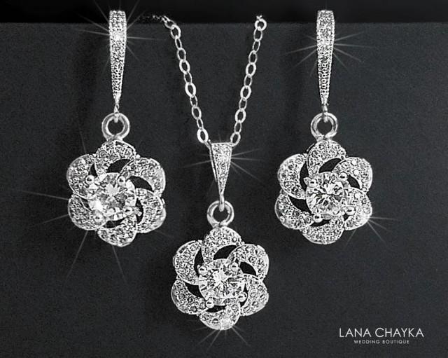 wedding photo - Crystal Bridal Jewelry Set,Cubic Zirconia Earrings&Necklace Set, Camellia Wedding Jewelry Set, Floral Crystal Set, Bridal Jewelry, Prom Set