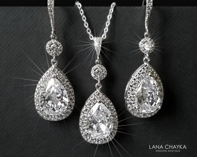 wedding photo - Bridal Jewelry Set, Cubic Zirconia Earrings&Necklace Set, Wedding Teardrop Crystal Set, Chandelier Earrings, Sparkly Crystal Halo Bridal Set