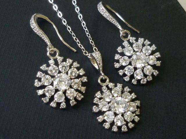wedding photo - Crystal Bridal Jewelry Set, Cubic Zirconia Earrings&Necklace Set, Bridesmaids Jewelry, Crystal Earrings, Wedding CZ Jewelry, Bridal Jewelry