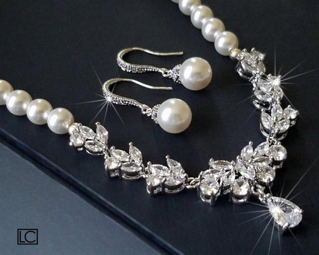 wedding photo - Pearl Bridal Jewelry Set, Swarovski White Pearl Earrings&Necklace Set, Pearl Cubic Zirconia Jewelry Set, Wedding Jewelry, Statement Necklace