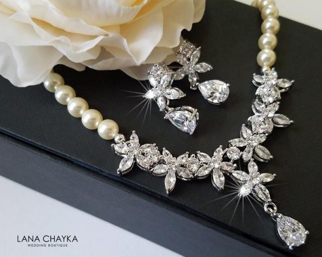 wedding photo - Pearl Bridal Jewelry Set, Wedding Necklace&Earrings Set, Swarovski Ivory Pearl Silver Set, Bridal Jewelry Statement Jewelry Set Prom Jewelry