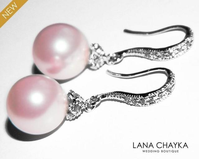 wedding photo - Pink Pearl Drop Earrings, Swarovski 10mm Rosaline Pink Pearl CZ Silver Earrings, Blush Pink Pearl Wedding Earrings Bridal Bridesmaid Jewelry